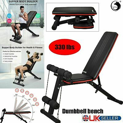 Foldable Dumbbell Bench Weight Training Fitness Adjustable Workout Gym Exercise • 49.99£