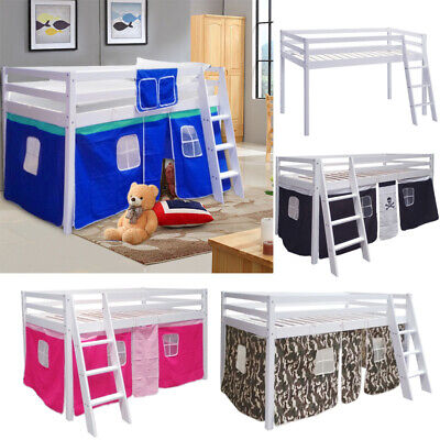 3ft Boys Girls Cabin Loft Bed Children Mid Sleeper Bunk Kids Single Bed W/Tent • 147.95£