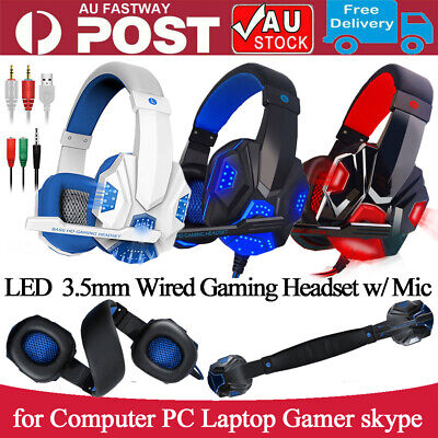 AU25.99 • Buy USB 3.5mm LED Gaming Headset Headphone W/Mic Stereo Surround For PC/Laptop Gamer