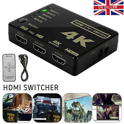 5 Port HDMI Switch Splitter Switcher 1080P Hub Box For PS3 HDTV With IR Remote • 6.99£