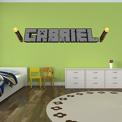 3D Effect Gamer Name - Inspired Minecraft - Personalised Gaming 3D Wall Sticker • 14.99£