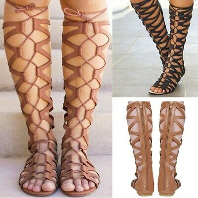Womens Summer Knee High Lace Up Leg Wrap Strappy Gladiator Flat Sandal • 7.18£
