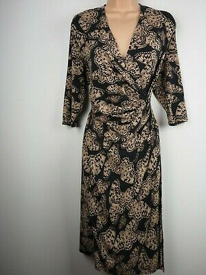 Phase Eight Wrap Dress Size 16 Stretch Midi Beige Brown Exc. Cond • 17.50£