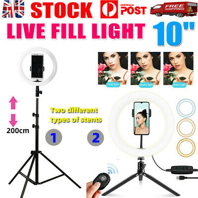 AU26.88 • Buy 10  Phone Selfie Ring Light 2M Stand Dimmable For Makeup Video Shooting Live