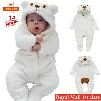 Newborn Baby Boy Girl Kids Bear Hooded Romper Jumpsuit Bodysuit Clothes Outfits • 10.78£