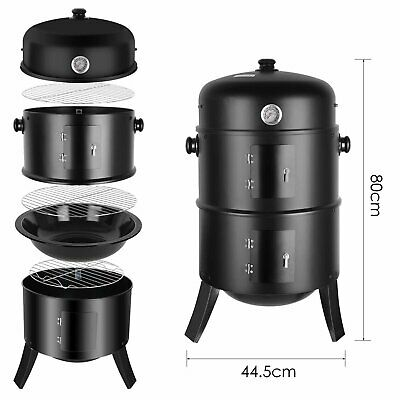 Smoker BBQ Charcoal Grill Portable Outdoor Barbecue Meat Food Cooking Drum Oven • 42.99£