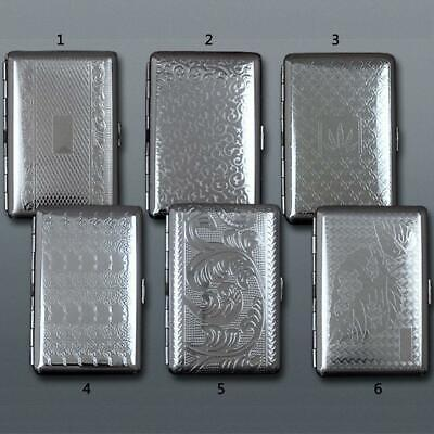 Metal Cigarette Case Slim King Size Silver For 20Pcs Embossed Tobacco Holder Box • 3.69£