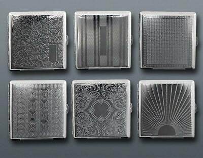 Metal Cigarette Case King Size Silver For 20Pcs Embossed Tobacco Holder Box Tin • 3.98£