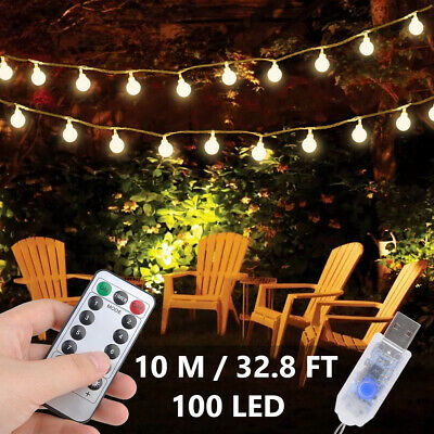 100LED 10M Globe Bulb Ball Fairy String Lights Mains Garden Outdoor Christmas UK • 12.40£