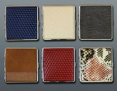 Metal Leather Cigarette Case King Size 20Pcs Tobacco Holder Box Elegant Stylish • 3.59£