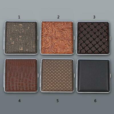 Metal Leather Cigarette Case King Size 20Pcs Tobacco Rubber Holder Brown Box • 3.19£