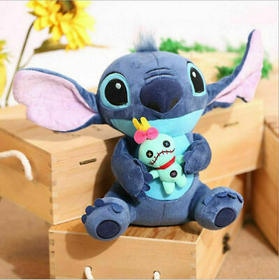 Disney Lilo & Stitch Plush Toy Stitch Holding Scrump Soft Stuffed Doll Xmas Gift • 8.88£