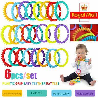 £2.69 • Buy 6pcs Rainbow Teether Ring Links Plastic Baby Kids Infant Stroller Play Mat Toys