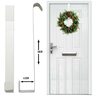Christmas Wreath Door Hanger Metal Hook Xmas Decoration 28cm Black Or White New • 4.95£