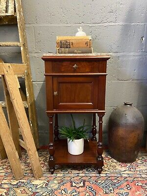 Single French Marble Top Bedside Table / French Bedside Pot Cupboard • 85£