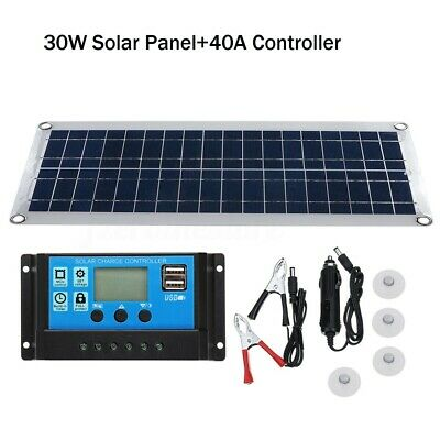 30W 12V Dual USB Solar Panel Flexible Battery Charger Kit With Car Controller • 23.75£