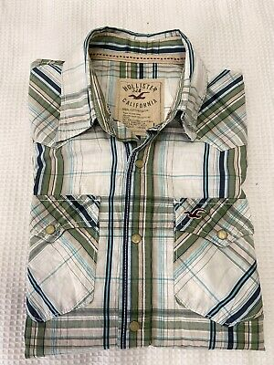 AU18 • Buy HOLLISTER CALIFORNIA Men's Green White ChecK L/S Western Style Shirt ~Size L