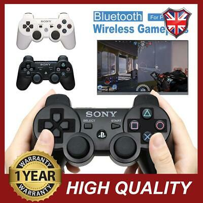 SONY PS3 Controller DualShock 3 Bluetooth SixAxis Wireless GamePad Black White • 12.61£