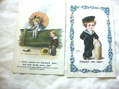 2 X ANTIQUE COMIC POSTCARD'S. BY INTER-ART-Co. FORGET ME & N.A.SERIES  DATE 1916 • 9.99£
