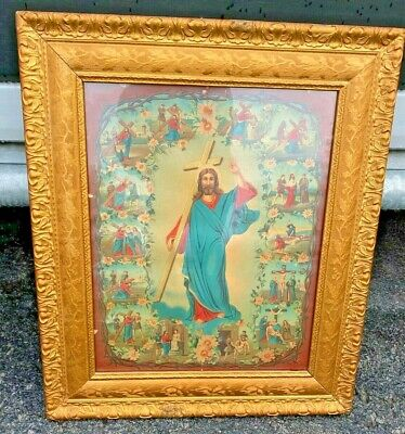 Vintage Large Framed Jesus Stations Of The Cross Religious Picture 27 X 23  • 36.64£