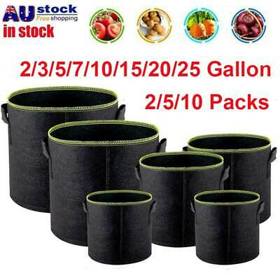 AU27.52 • Buy 5/10 Pack Plant Bags Aeration Fabric Pots With Handles 3/5/7/10 Gallon Grow Bags