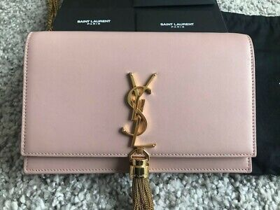 AU900 • Buy Saint Laurent Kate Tassel Chain Wallet In Smooth Leather (Pale Pink)