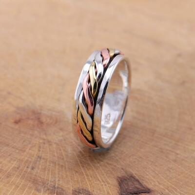 £20.95 • Buy Mens Womens 925 Sterling Silver Tri Colour Celtic Spinning Worry Band Ring