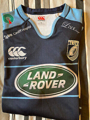 Cardiff Blues Large Size Land Rover Sponsored Rugby Shirt • 8£