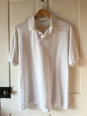 Marks & Spencer Mens Top M Size White Polo Neck T-shirt Collared + Buttons • 1£