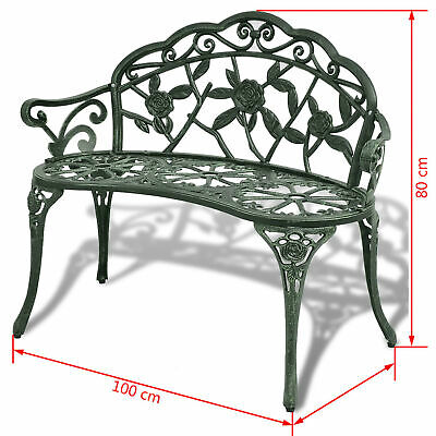 2-seater Garden Bench Outdoor Chair Patio Seat Furniture Green Cast Green F9W0 • 150.74£