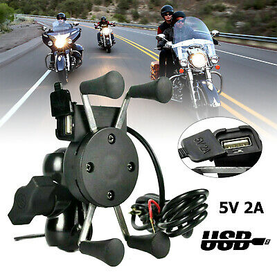 AU30.49 • Buy Universal Motorcycle Motorbike Mobile Phone Mount Holder X Grip Clamp USB Charge