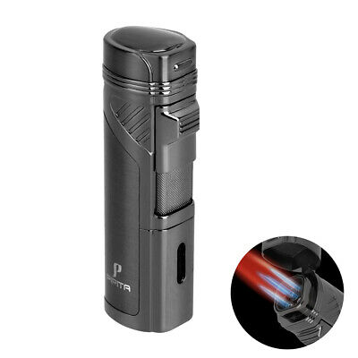 PIPITA Metal Windproof 3 Torch Jet Flame Butane Refillable Cigar Lighter Punch • 6.50£