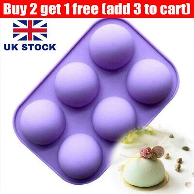 3D Half Ball Silicone Chocolate Mold Sphere Cupcake Cake Mould Baking Tool Tray • 3.89£