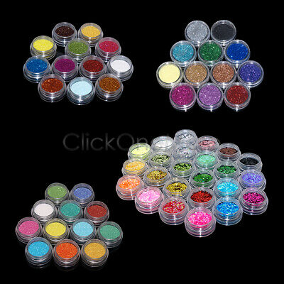 Glitter Dust Powder Set For Nail Art Tips GEL Decoration Crafts DIY Gift • 3.54£