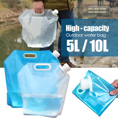 Foldable Water Storage Bag Collapsible Camping Container Carrier Bottle 5L/10L • 5.38£