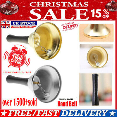 Metal Christmas Hand Bell Xmas New Year Santa Party Celebrate Rattle Bell Gift • 11.69£