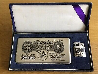 Cigarette Case And Lighter Set In Style Of 10 Shilling Bank Note • 10£