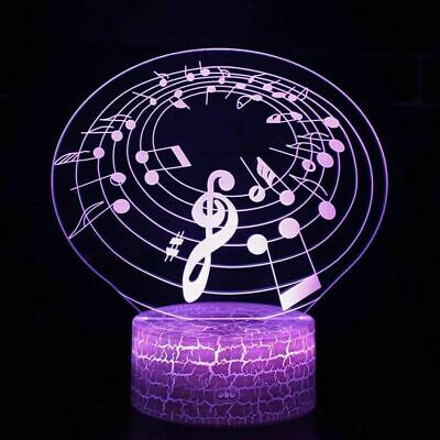 Musical Note 3D Acrylic LED 7 Colour Night Light Christmas Desk Lamp Gift Toy • 12.99£