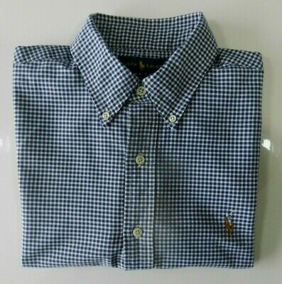 Mens Ralph Lauren Polo Blue Gingham Checked Short Sleeve Shirt MEDIUM Slim Fit • 23.99£