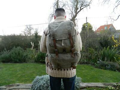 Vintage Swiss Army Military Backpack Rucksack Salt And Pepper Canvas Leather Bag • 49.99£