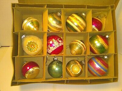 $ CDN31.71 • Buy 12 Vintage Glass Christmas Ornaments In Shiny Bright Box Mixed Ornament