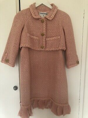 CHANEL Pink Iconic Tweed Dress And Jacket Two Piece Set Ladies Small Size 34 • 450£