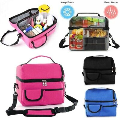 Insulated Lunch Bag Coolbag Work Camping Picnic Adult Kids Food Storage Box UK • 6.99£