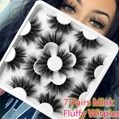 7 Pairs 25mm Long Wispy Fluffy Hair 3D Mink False Eyelashes Lash Lash Extension~ • 2.46£