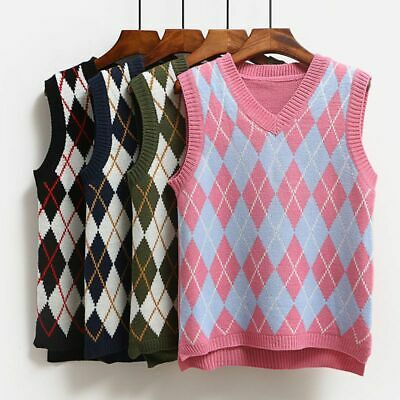 New Argyle Fashion Knitted Vest Women Casual Korean Pullover Elasticity Sweater • 14.99£