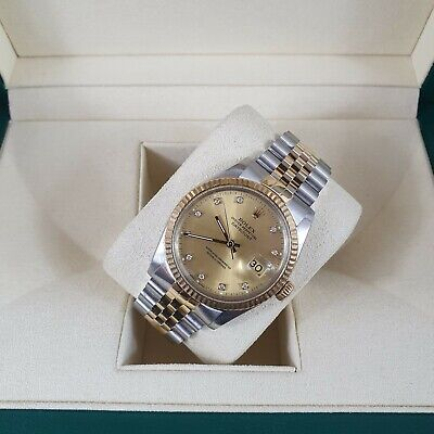 Mens Steel & Gold Rolex Datejust With Factory Diamond Dial Box & Papers • 4,995£