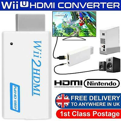 Wii Input To HDMI 1080P HD Audio Output Converter Adapter Cable 3.5mm Jack Audio • 3.79£