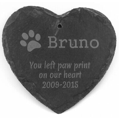 Personalised Pet Memorial Plaque Cat Dog Paw Photo Slate Tombstone Grave Marker • 4.99£