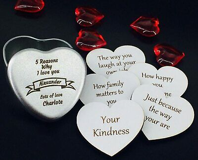 Personalised Christmas Gift Engraved Wood Hearts 10 Reasons Why I Love You  • 4.99£