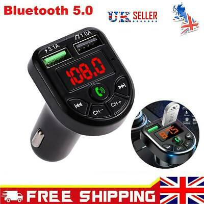 Wireless Car Kit FM Transmitter Bluetooth Radio MP3 Music Player USB Charger UK • 4.99£